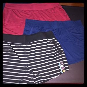 3 Pair NEW Women's Athletic Works Gym Shorts 3X